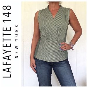 LAFAYETTE 148 GREEN PINSTRIPE RUCHED TOP SIZE 6